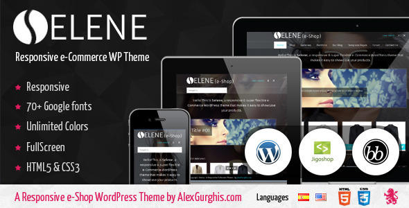 Selene Fullscreen e-Commerce WordPress Theme Premium