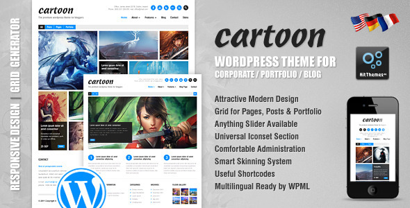 Cartoon Responsive Premium WordPress Theme Corporate