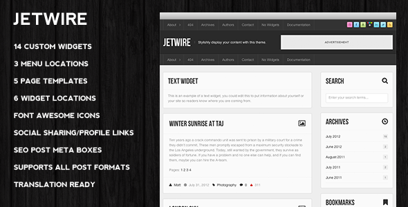 Jetwire Premium WordPress Blog Theme Powerful